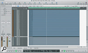 Logic playing back 109 tracks of 24‑bit/96kHz audio, using the new Seagate Momentus drive in a Macbook.