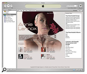 Every artist whose works are available on the iTunes Music Store gets a biography page, some of which offer links to the artist's web site and exclusive tracks, as shown here for Annie Lennox.