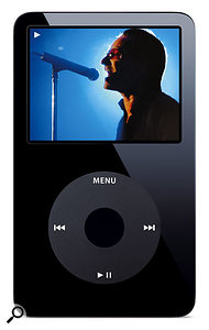 Like the iPod Nano, the new video-capable iPod is also available in black. Unlike the Nano, the new iPod features up to a 60GB hard drive, with battery life of 20 hours when playing back music.