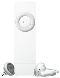 Shuffle your music with the new iPod Shuffle, a flash-based player with a 12-hour battery life, in a box the size of a packet of chewing gum.
