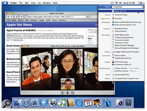 Hear it roar: Mac OS 10.4 Tiger offers new technologies for 64-bit memory addressing, image and video processing and searching. Here you can see a forthcoming version of Safari with RSS news-feed support, a new version of iChat supporting video-conferencing with up to three extra parties, and the Spotlight searching technology.