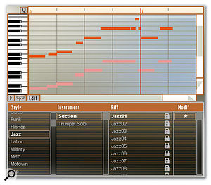 Riff mode allows you to pick from more than 500 preset phrases and then edit them (or create new ones) using a piano-roll-style sequencer.