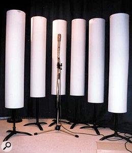 ASC Studio Traps cylindrical acoustic baffles.
