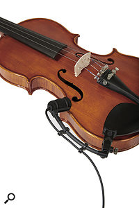 There are two mounting options for violin — one in which the mic is attached to the bridge, and another using the gooseneck, which places the mic above the 'f' hole.