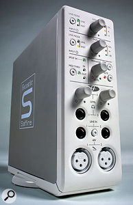 If you don't want to be faffing about buying extra preamps, look for audio interfaces that feature 'versatile' inputs that cater for microphone, instrument and line-level sources, such as Focusrite's Saffire, shown here.