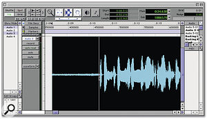 When creating a mono music mix for a two-track backing disc/tape, it's advisable to trim the start to avoid a distracting burst of background noise before the music begins.