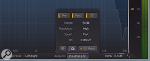 To configure Pro‑Q 2 to capture the profile of your pink noise source, open the Analyzer settings window.