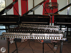 The 'robot xylophones' built by Singer, with a separate beater for each key.