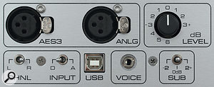 The rear panel houses both analogue and digital inputs, as well as an input-sensitivity control and LF EQ switch.