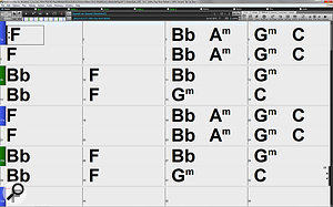 Screen 1C: The new small configurable toolbar, with tabbed access to toolbars, provides a  arger area for chords, but a rather small space for controls.