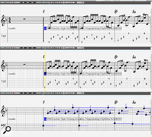 Screen 2A: Three single-instrument notation views with a  view/print-only mode shown at the top, and two editable modes below.