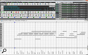 Screen 2C: the Piano Roll editor, for editing single or multiple notes and controller values.
