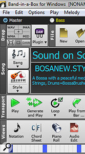 Screen 5: The classic desktop layout includes buttons for Song and Style selection as well as controls to export MIDI and/or audio to your DAW.
