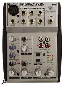 Behringer UB502 five-input mixer.