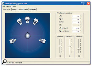 The included software provides an easy-to-use graphical interface for the Headzone Pro. Everything is accessed via one of four tabbed pages This tab shows the speaker setup in the virtual room.