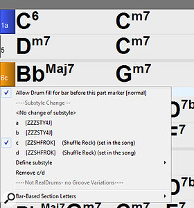 Screen 4: Part Markers are shown on the Chord Sheet as coloured blocks with the bar number and a  sub-style identifier, as seen here with a  blue 1a and orange 6c. A  right-click in a  block opens the displayed menu with options to allow/disable drum fills, to choose sub-style changes, and even to create new sub-styles for the song.