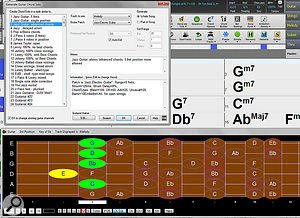 Screen 5: The Guitar view has several performance and educational features including the Guitarist, whose menu is shown here. This function can intelligently expand any melody to a  guitar chord solo with real guitar voicings. The Guitar view can also display alternate tunings, capos, and dynamically show fingering as notes are played.