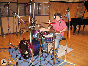 Drummer Sean Fitzgerald does his stuff during tracking for '(Is This The Way To) The World Cup', at London's Angel Studios.