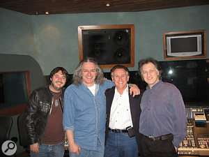 Tony Christie (third from left) in the studio with (L-R) manager, son and drummer Sean Fitzgerald; Big George; and producer Graham Pleeth.