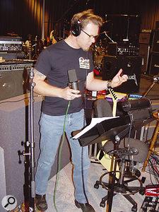 James Hetfield prepares to lay down a vocal.