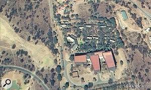 Viewed from space via Google Earth, the studio complex's rhinocerous-shaped layout is clear.