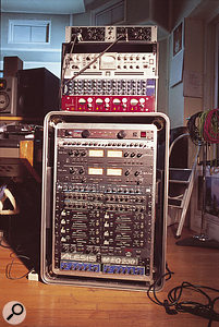 Some of Tony Visconti's own outboard gear. From top: Universal Audio 2-610 mic preamp, the Avalon VT737SP preamp used for Bowie's vocals, Presonus ACP88 eight-channel compressor, Focusrite Red preamp, Furman power conditioner, Aphex 109 stereo EQ, ART Pro VLA compressor and Pro MPA preamp, Dbx 166a dynamics, Alesis 3630 compressor (x2), Dbx 163X compressor (x8), BBE Sonic Maximiser and Alesis graphic EQ.