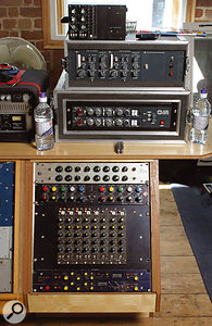 Ian Broudie's fondness for stand-alone mic amps and different flavours of compression is well catered for at Elevator Studios: from top, API Lunchbox input channel, Neve compressor and EQ, Summit Audio and GML EQs, Audix EQ modules, Focusrite dual-channel compressor.