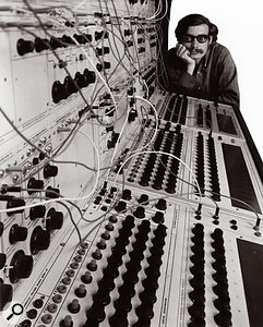 Don Buchla with a Series 100 system in the 1960s.