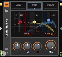 A graphical display of gain, crossover and output frequencies.