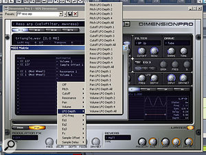 One of the busier destinations for the MIDI Matrix. The main screen's clean interface hides a wealth of control, which is only a mouse-click away. The bottom panel shows the FX page with the two global effects.