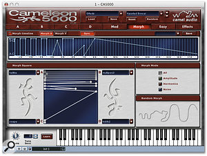 The X-Y morphing envelope can be sync'ed to host tempo, for rhythmic effects.