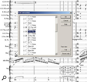 A really huge Mahler score is the backdrop for a simple-to-use Part Extraction window -- and it would need to be simple with a score such as this!