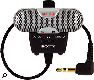 Care must be taken with some microphones intended for use with portable recorders, such as the miniature Sony ECM719 stereo mic (above), as these are designed to use the lower-voltage 'plug-in power' standard, and could be damaged by a studio 48V phantom supply.