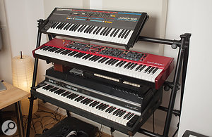 More classic keyboards in Jack Patterson's writing suite. From top: Roland Juno 106, Clavia Nord Stage and Rhodes Stage 73.