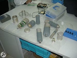 Some of SE's new microphones being assembled (including the twin-valve Gemini, in pieces on the left).