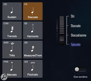 When the staccato or pizzicato articulations are active, the right side of the GUI shows the articulation variations selectable by moving the mod wheel.