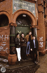 The Smiths famously posed in front of Salford Lads Club for the inner sleeve of The Queen Is Dead; this is one of the other photos from that session. From left to right: Johnny Marr, Morrissey, Andy Rourke and Mike Joyce.