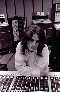 Alex Chilton in the control room at Studio A, Madison Avenue, circa 1973.