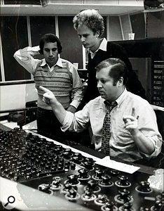 Roy Halee with Paul Simon and Art Garfunkel in the control room of Columbia's New York studio.