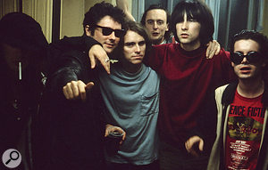Primal Scream backstage at a  gig in Kawasaki. Hugo Nicolson is in the middle at the back.