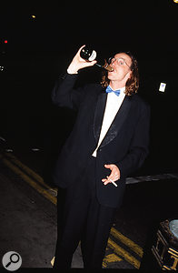 Hugo Nicolson celebrating after Primal Scream won the inaugural Mercury Music Prize for Screamadelica in 1992.