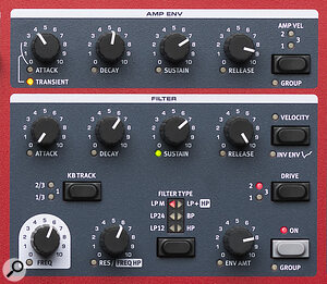 Clavia Nord Wave 2's Filter and Amp Env section.