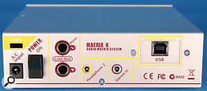 The Matrix K's rear panel accommodates the stereo ins and outs and an additional headphone socket.