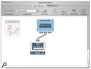 Extra MIDI ports, seen here in OS X's Audio MIDI Setup utility, mean the Command 8 can be used as a MIDI interface.