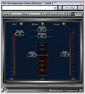 Waves' Renaissance Compressor takes the approach of SSL's popular bus compressor, where you get more compression as you bring the threshold down.