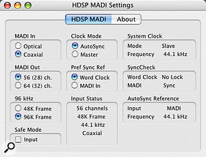 The OS X MADI Control Panel installed with the Hammerfall DSP MADI.