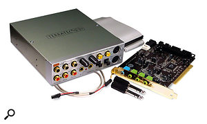 If you get ground-loop problems in your computer after installing a soundcard with a drive-bay interface, such as the Terratec DMX6Fire shown here, try mounting it using nylon bolts and washers.
