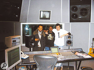 Craig Bauer at Hinge Studios with John Legend (left) and Kanye West.