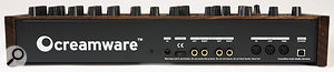 The Pro 12's rear panel is an exact duplicate of Creamware's previous ASB, the Minimax, featuring just a mains connector, audio input and output pairs and two types of MIDI connections: the traditional five-pin trio and a USB socket. The latter is also used by the Pro 12's software editor.