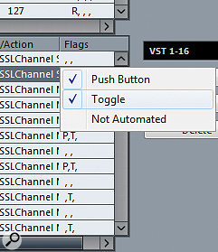 You'll probably find that you need to set the commands from any buttons to Toggle in the lower table. If rotary encoders are set to toggle, they'll go from zero to maximum — worth bearing in mind when troubleshooting!